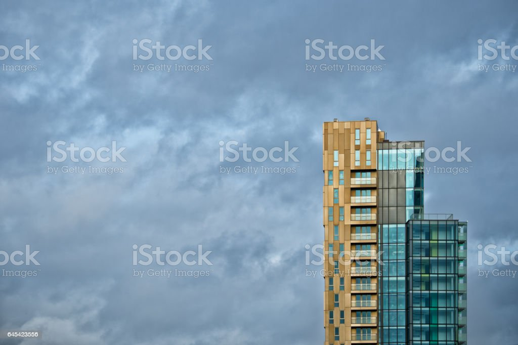 Tall building(s) in London sunset, dramatic sky stock photo