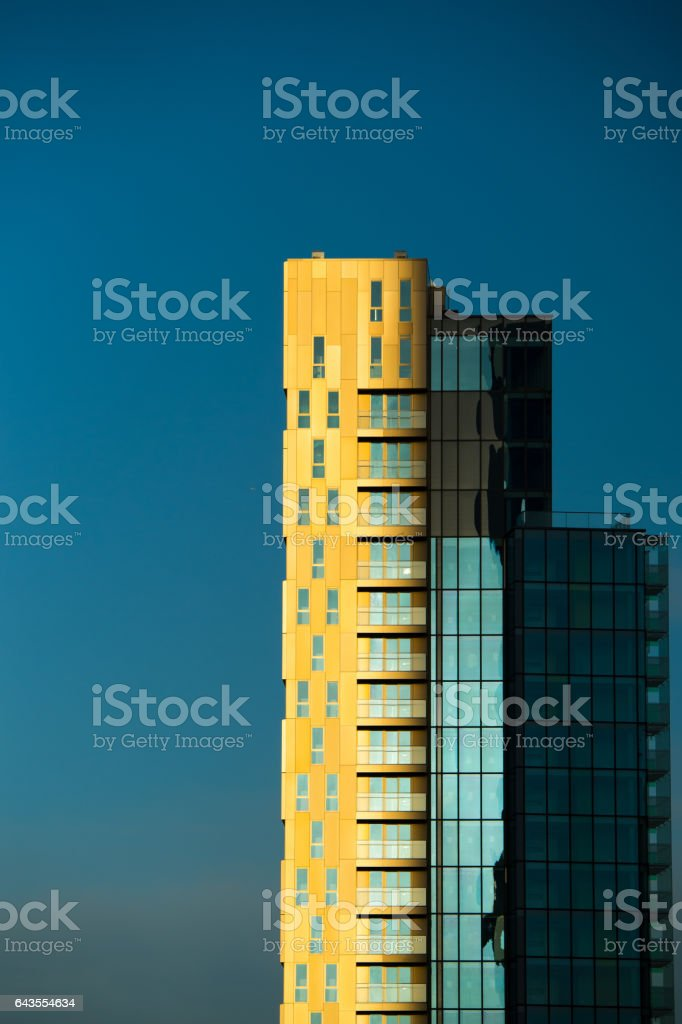 Tall building(s) in London sunset stock photo
