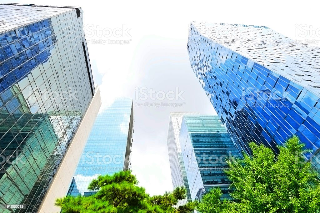 tall buildings in Hall City area stock photo