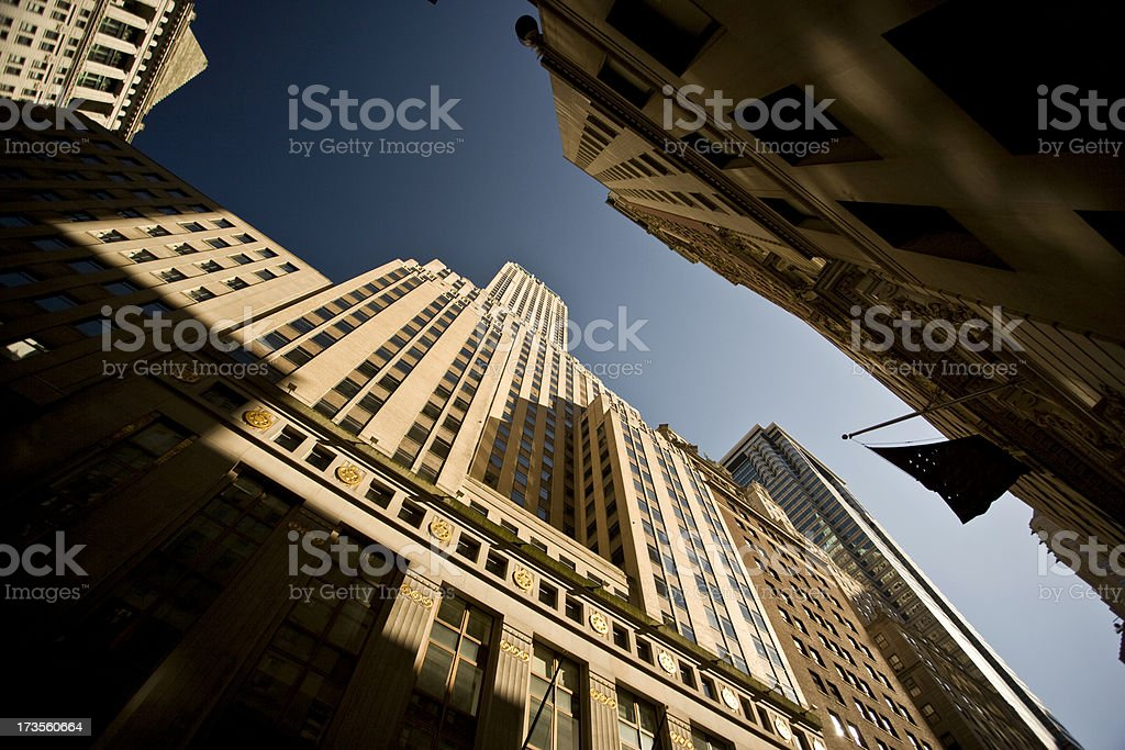 Tall buildings in the Wall Street financial district royalty-free stock photo