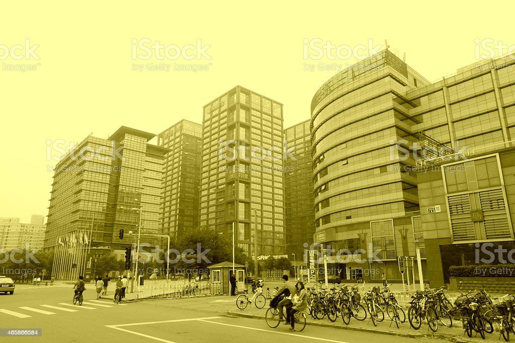 Tall buildings on Beijing Tsinghua University science and Techno stock photo