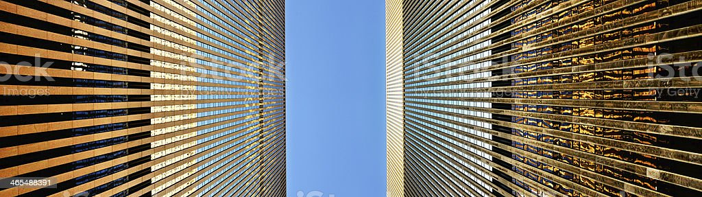 Tall buildings seen from street stock photo