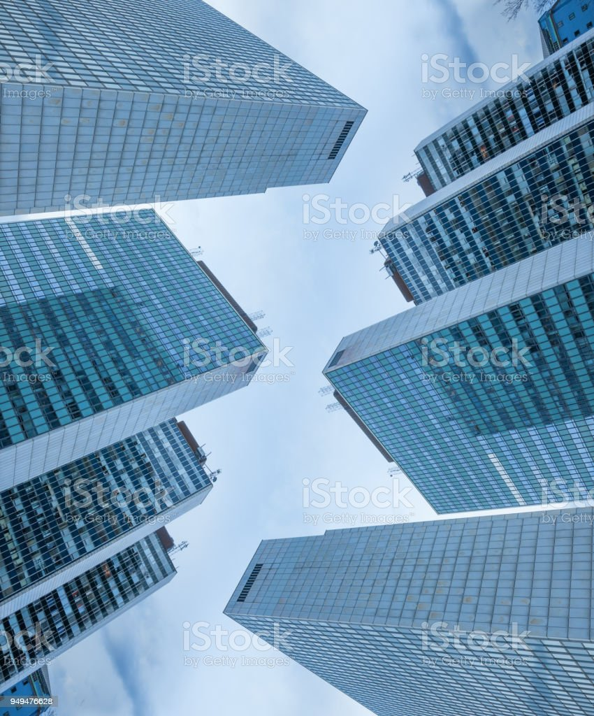 Tall buildings, sky and sunset, design stock photo