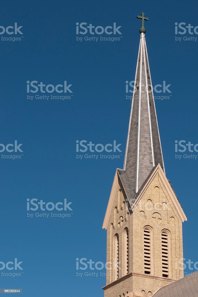 Tall Church Steeple with Cross royalty-free stock photo