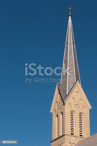 Tall Church Steeple With Cross Stock Photo & More Pictures of Architecture