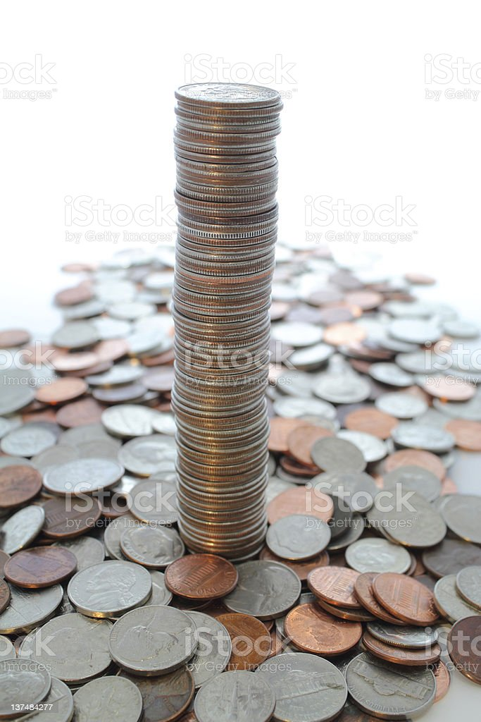 Tall column of us quarters. stock photo