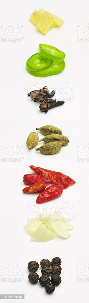 Tall Display of Fresh Spices royalty-free stock photo