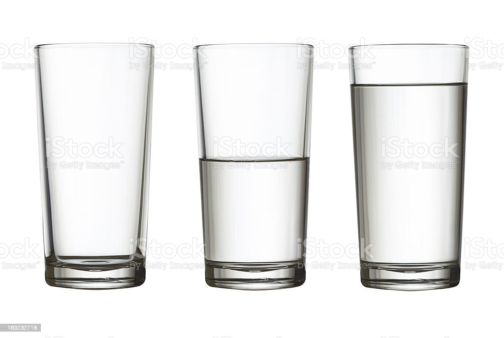 tall empty, half and full glass of water isolated stock photo