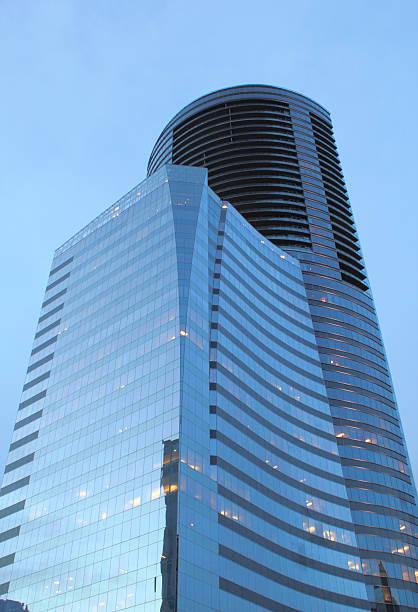 Tall, geometric building in Buckhead District, Atlanta Georgia. stock photo