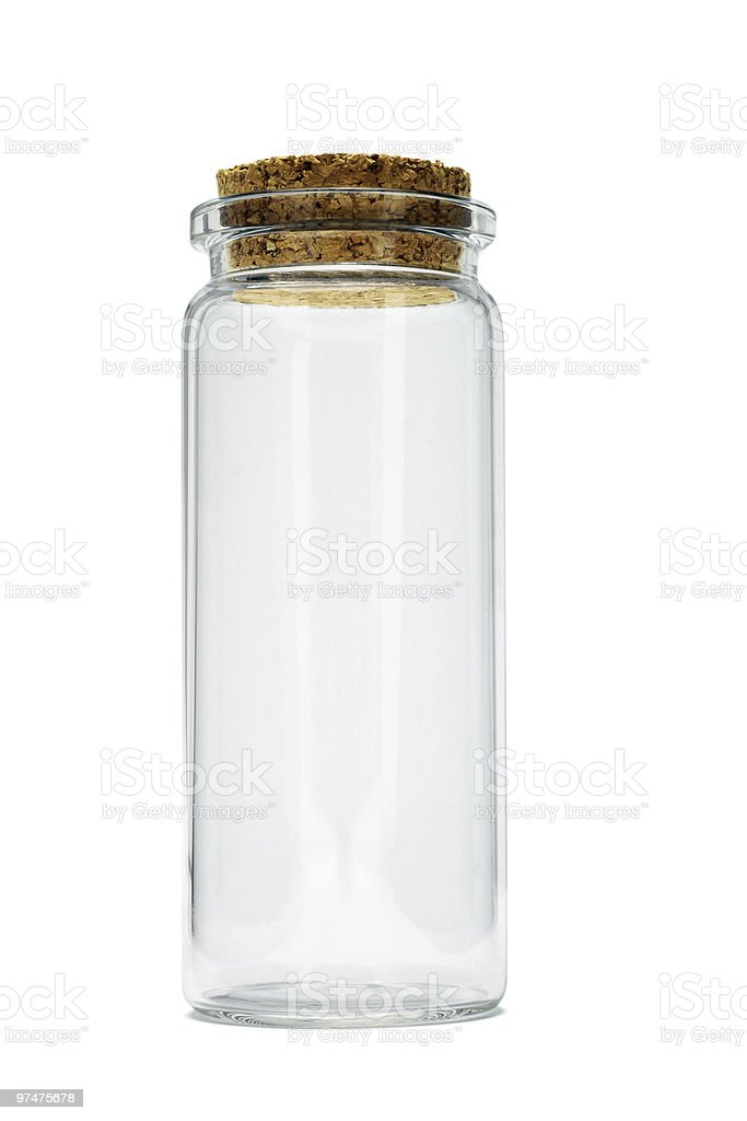 Tall glass empty container stock photo
