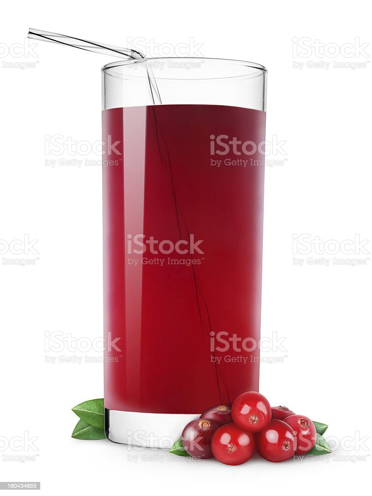 Tall glass of cranberry juice with a straw stock photo
