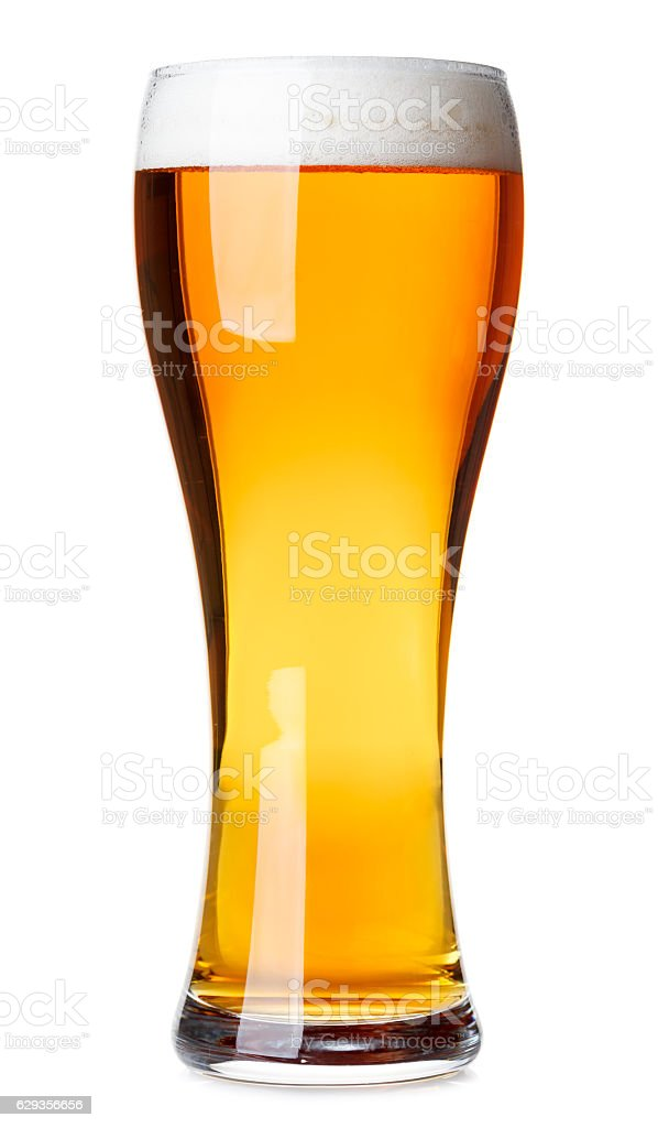 Tall glass of pilsner beer with head isolated stock photo