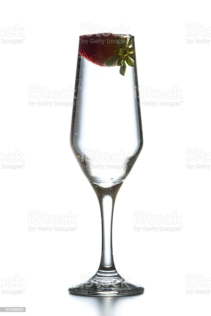 Tall glass with strawberry royalty-free stock photo