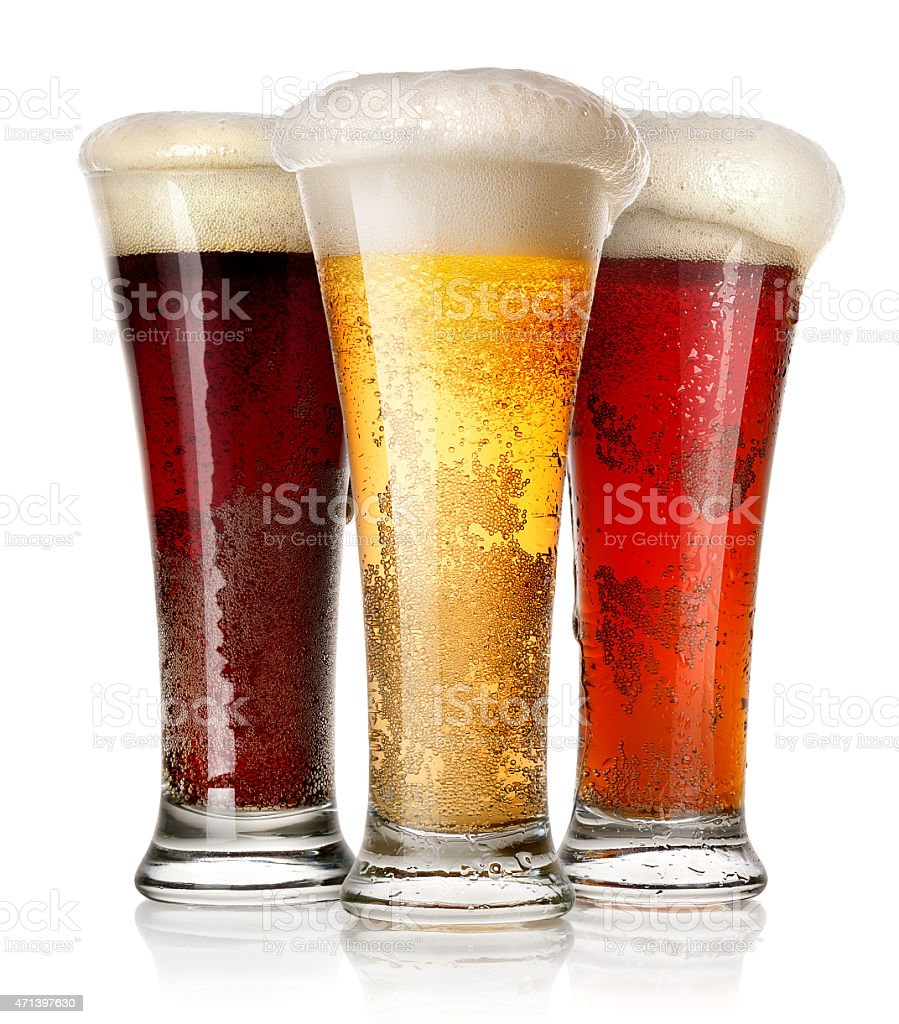 Tall glasses of beer stock photo
