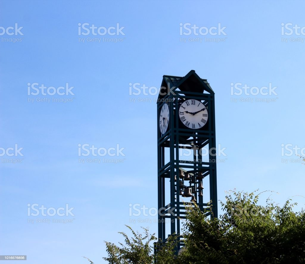 Tall Green Clock stock photo