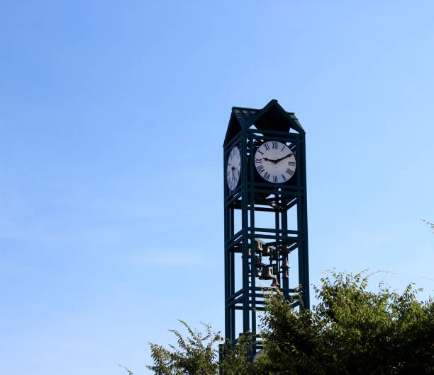 Tall Green Clock stock photo