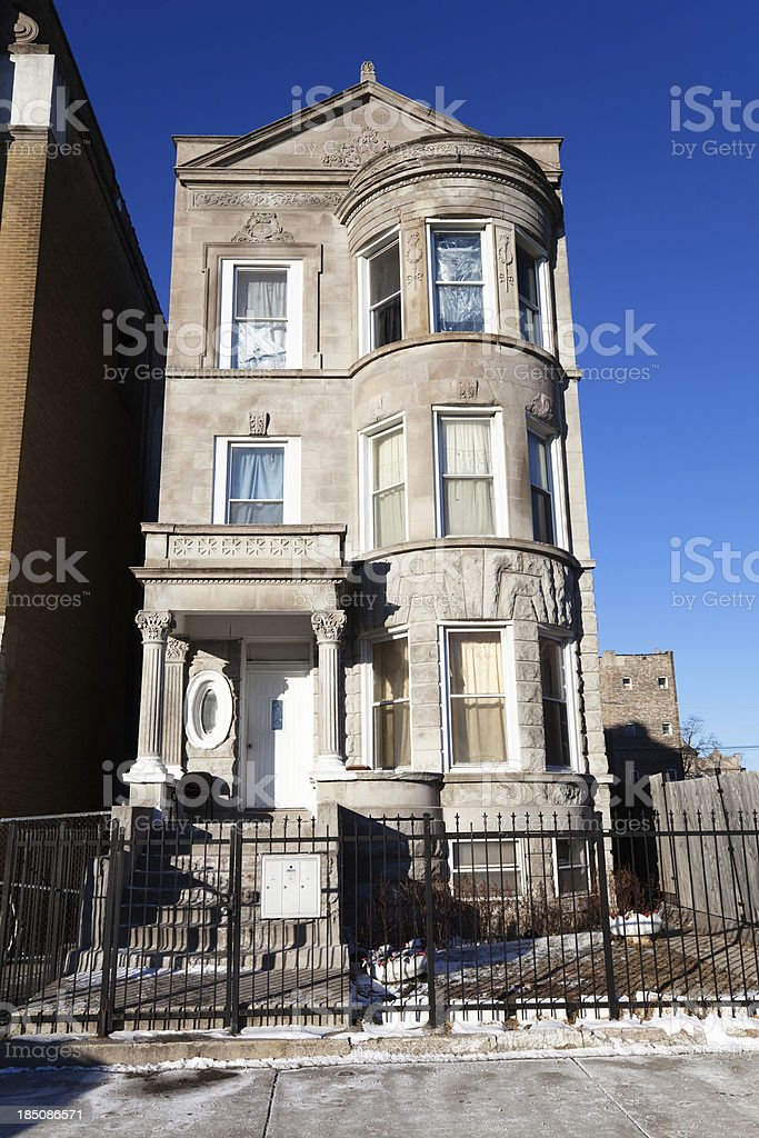 Tall Greystone House in North Lawndale, Chicago royalty-free stock photo
