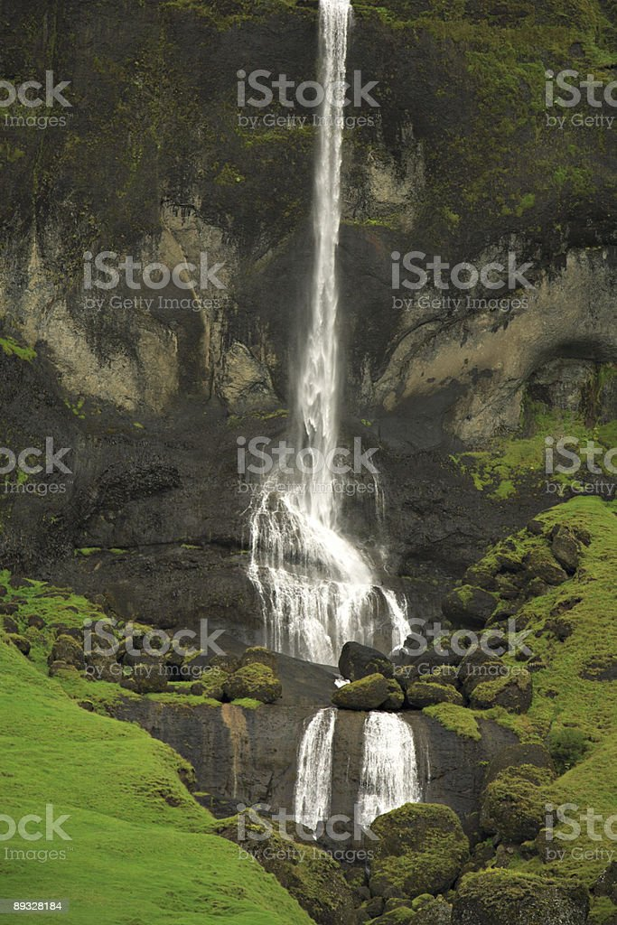 Tall Icelandic waterfall royalty-free stock photo