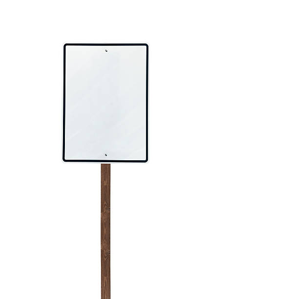 Tall Isolated Blank White Sign on Wood Post stock photo