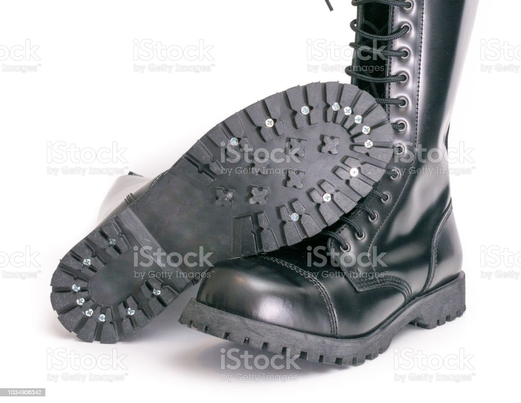 Tall Knee High Combat Boots With Screwed On Soles Stock Photo More