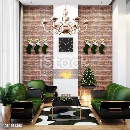 Digitally generated Christmas theme decorated tall living room with a fireplace. On the left is a large window with a white curtain. Back wall is made of bricks with Christmas stockings hanged on it. There is also a fancy looking lamp hanging from the ceiling  The scene was rendered with photorealistic shaders and lighting in Autodesk® 3ds Max 2016 with V-Ray 3.6 with some post-production added.