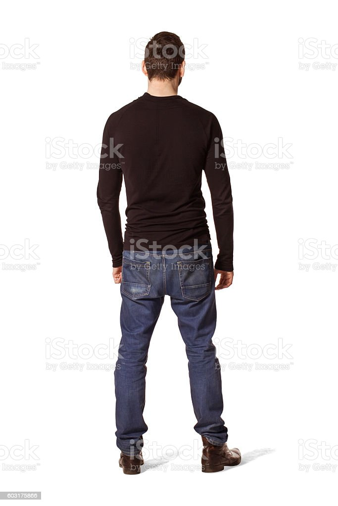 Tall man back portrait in black. stock photo
