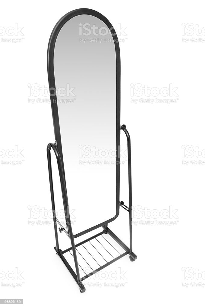 Tall mirror isolated on the white background royalty-free stock photo