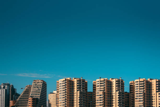 Tall, modern apartment buildings with copy space stock photo