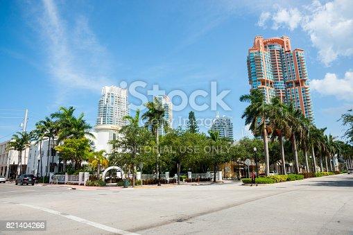 istock Tall modern architecure Miami apartments in street scene 821404266