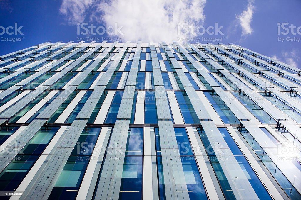 Tall Modern Glass Office Building. Luxury Prestige City Location. stock photo