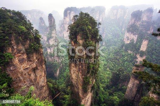 istock tall mountain peaks of yuanjiajie 526565734