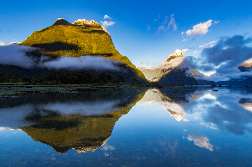 Tall mountains coming up from the fiord with perfect reflection on water during sunrise, Milford Sound New Zealand