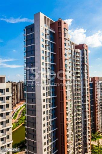 A tall apartment building under blue sky