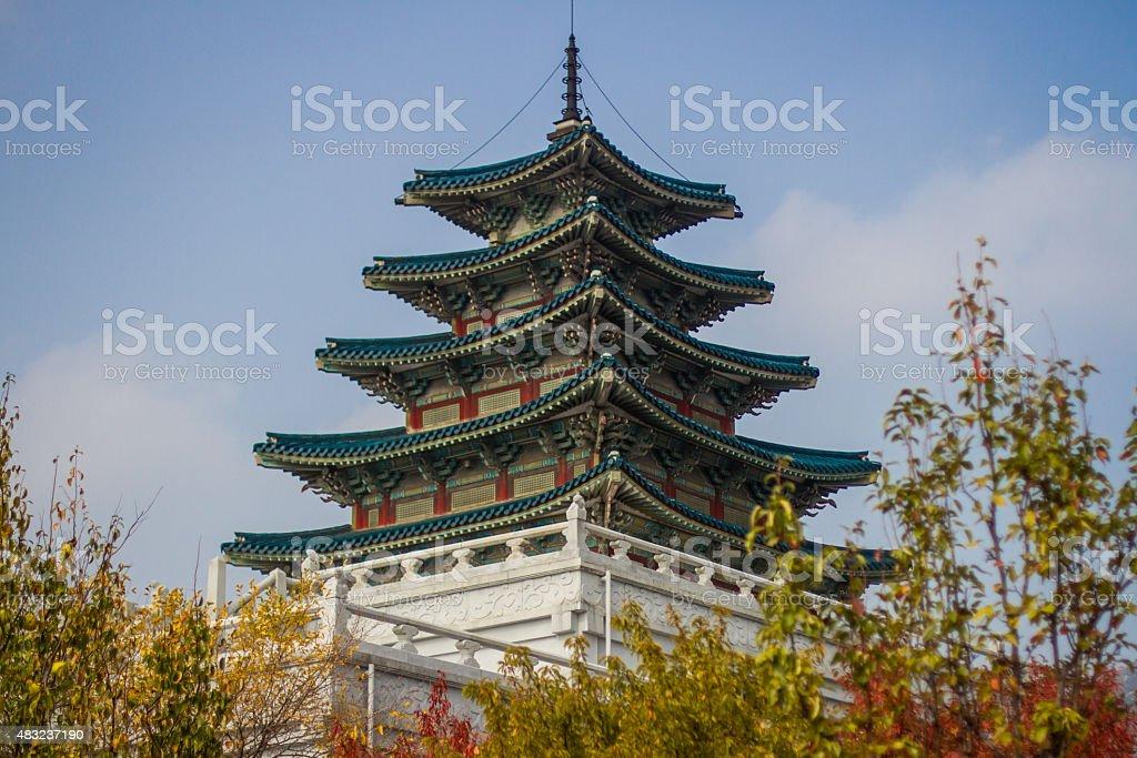 Tall Pagoda in Seoul, Korea stock photo