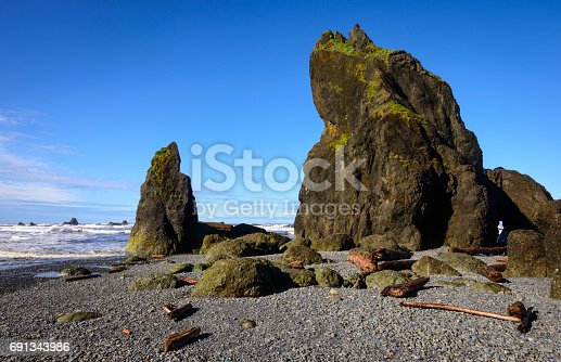 Rock formations caused by the tides at Ruby Beach in Olympic National Park.