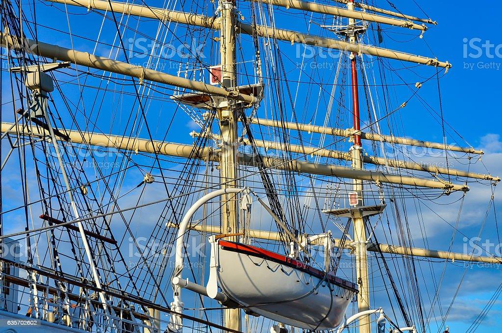 Tall Sailing Ship, Closeup Detail of Mast, Sails royalty-free stock photo