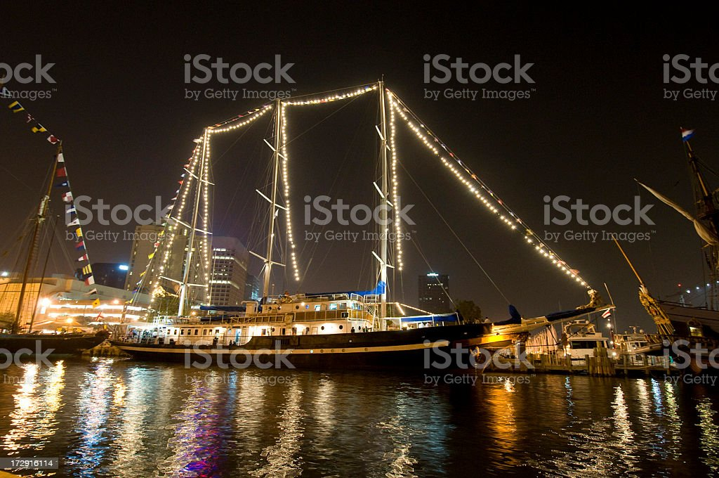 Tall ship at Harbor festival stock photo