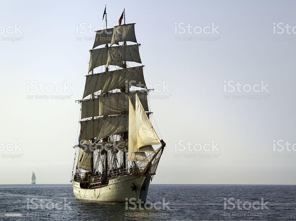 Tall Ship At Sail on Sunny Morning stock photo