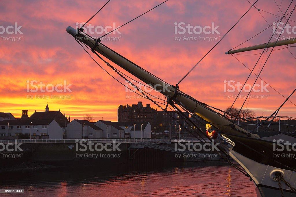 Tall Ship At Sunset stock photo