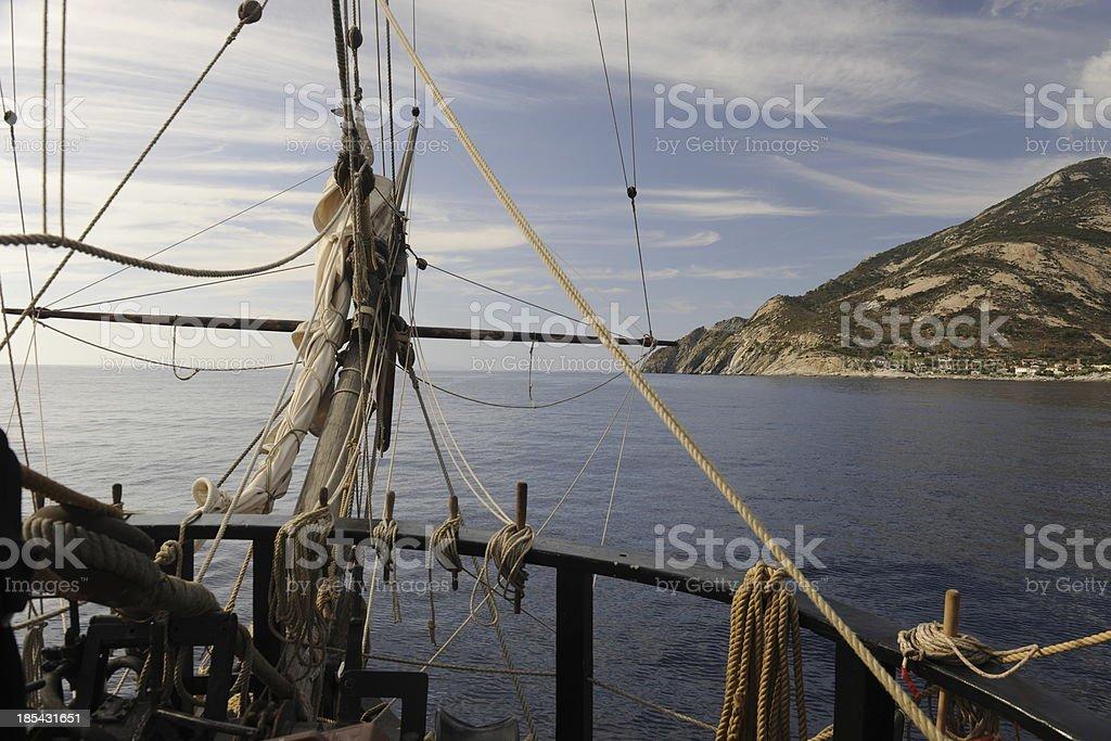 Tall Ship Bowsprit - Sailing Boat stock photo