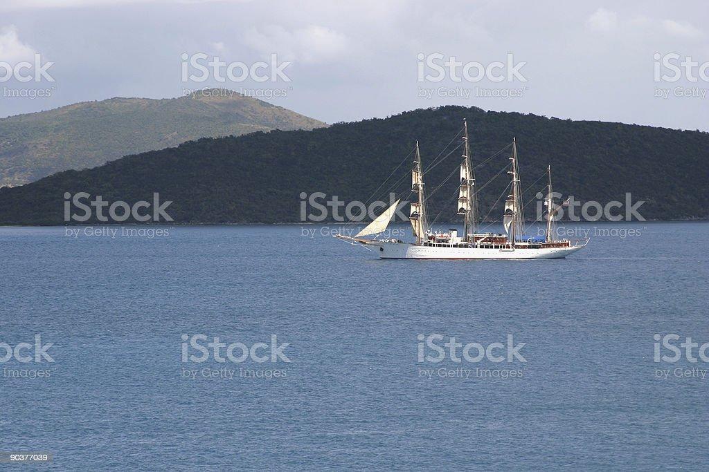 tall ship caribbean sea stock photo
