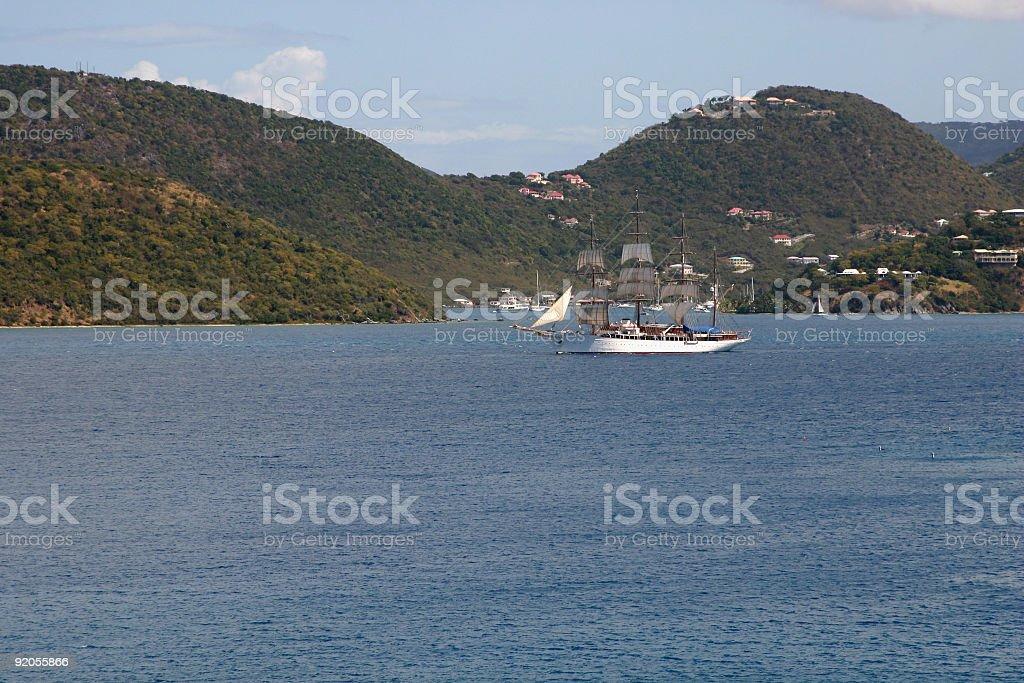 Tall ship full sail royalty-free stock photo