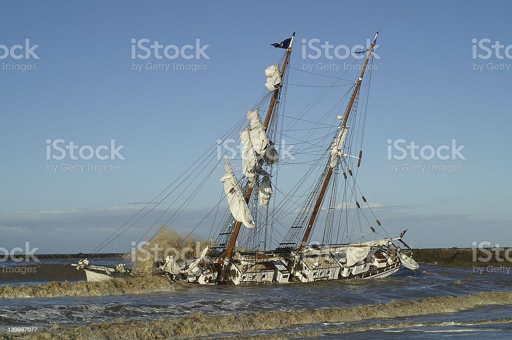 Tall Ship in Distress royalty-free stock photo