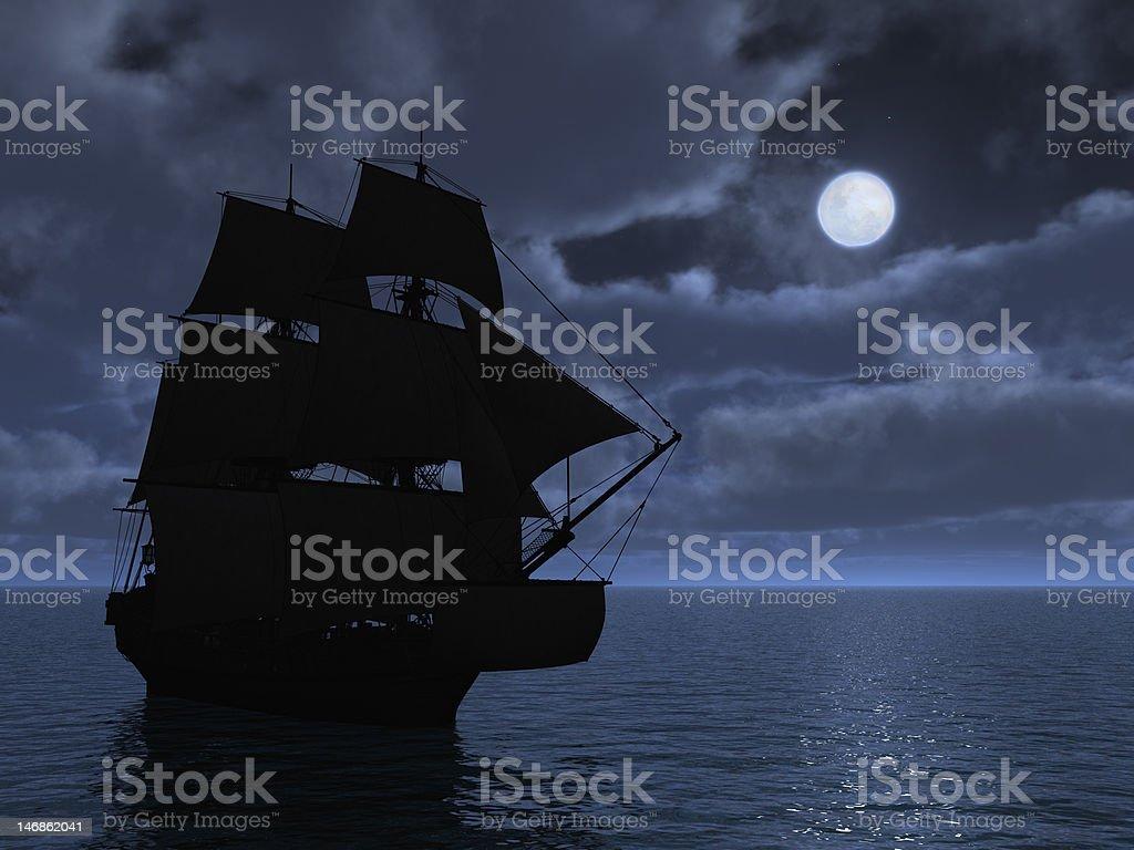 Tall Ship in Moonlight stock photo
