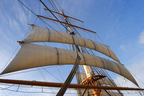 A tall ship mast with sails. stock photo