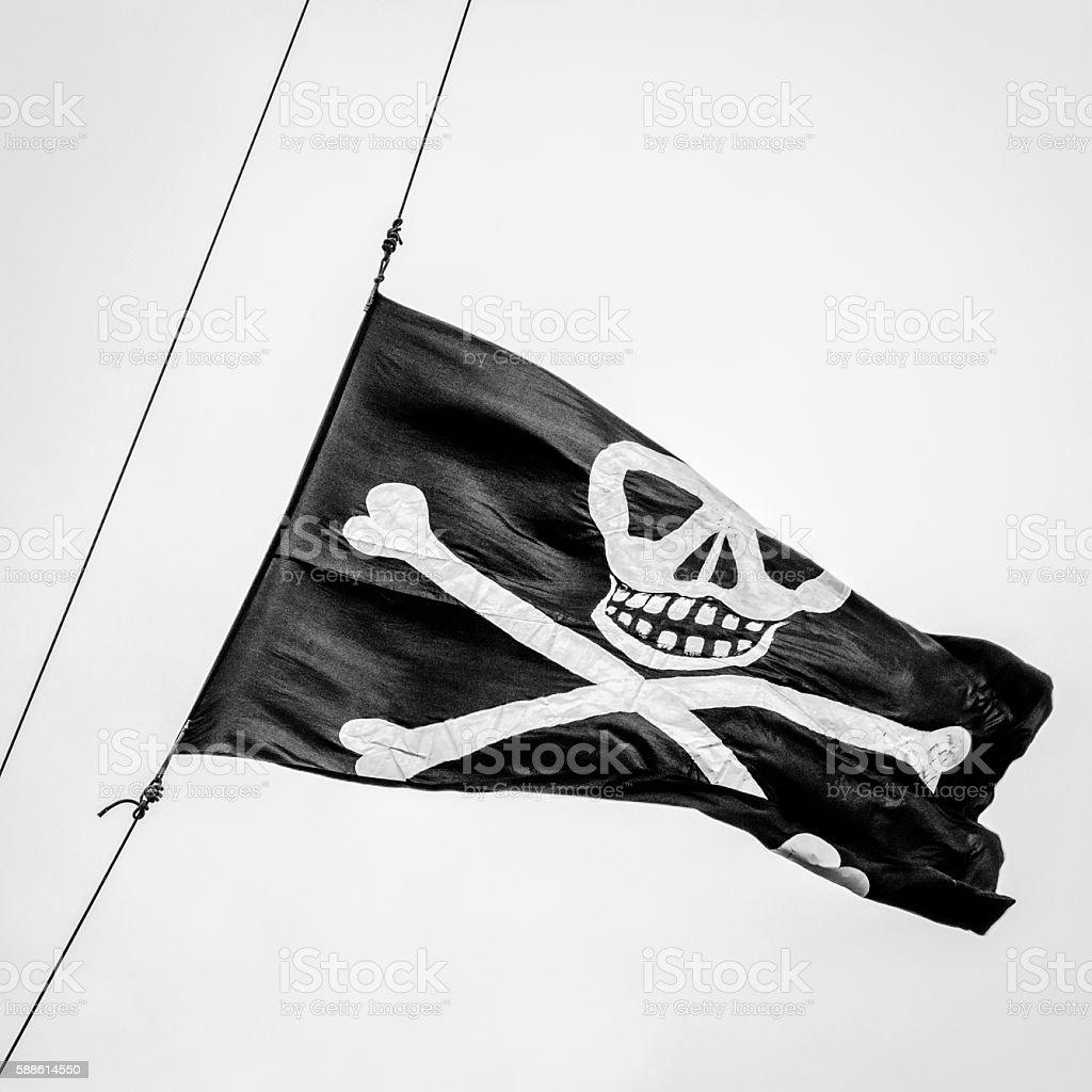 Tall Ship Pirate Flag - foto de stock