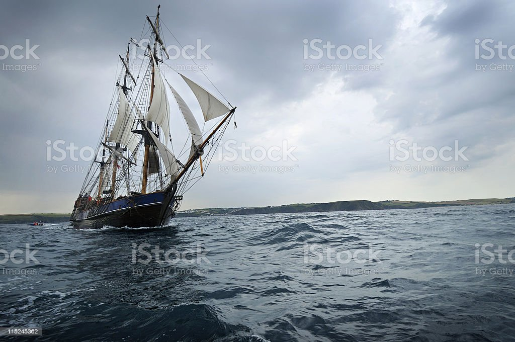 Tall ship sailing off the Cornwall Coast stock photo