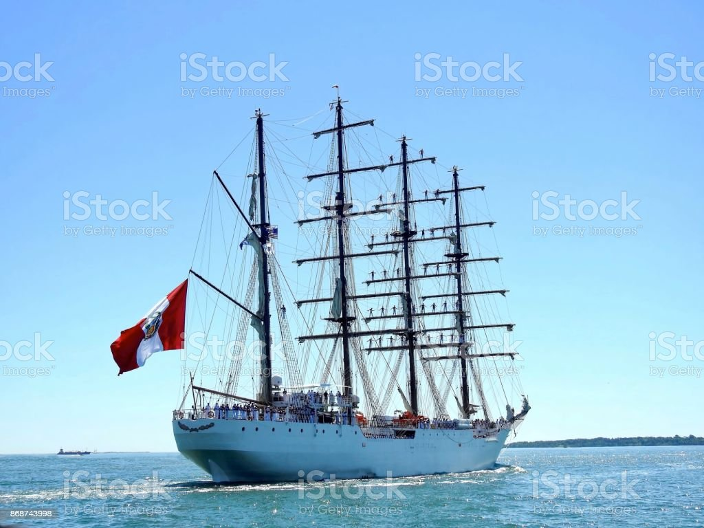 Tall Ship With  Sailors stock photo
