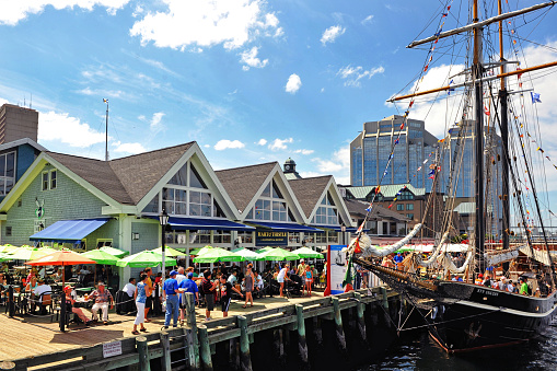 Halifax, Canada - July 19, 2012: Tens of thousands of people visited the waterfront to partake in the Tall Ships event to see ships such as the Unicorn, in Halifax, Nova Scotia.