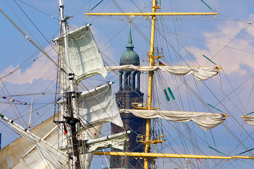 Tall ships in front of the Michaelis Church.